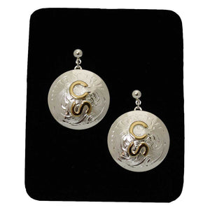 Filigree Calgary Stampede Logo Concho Earrings