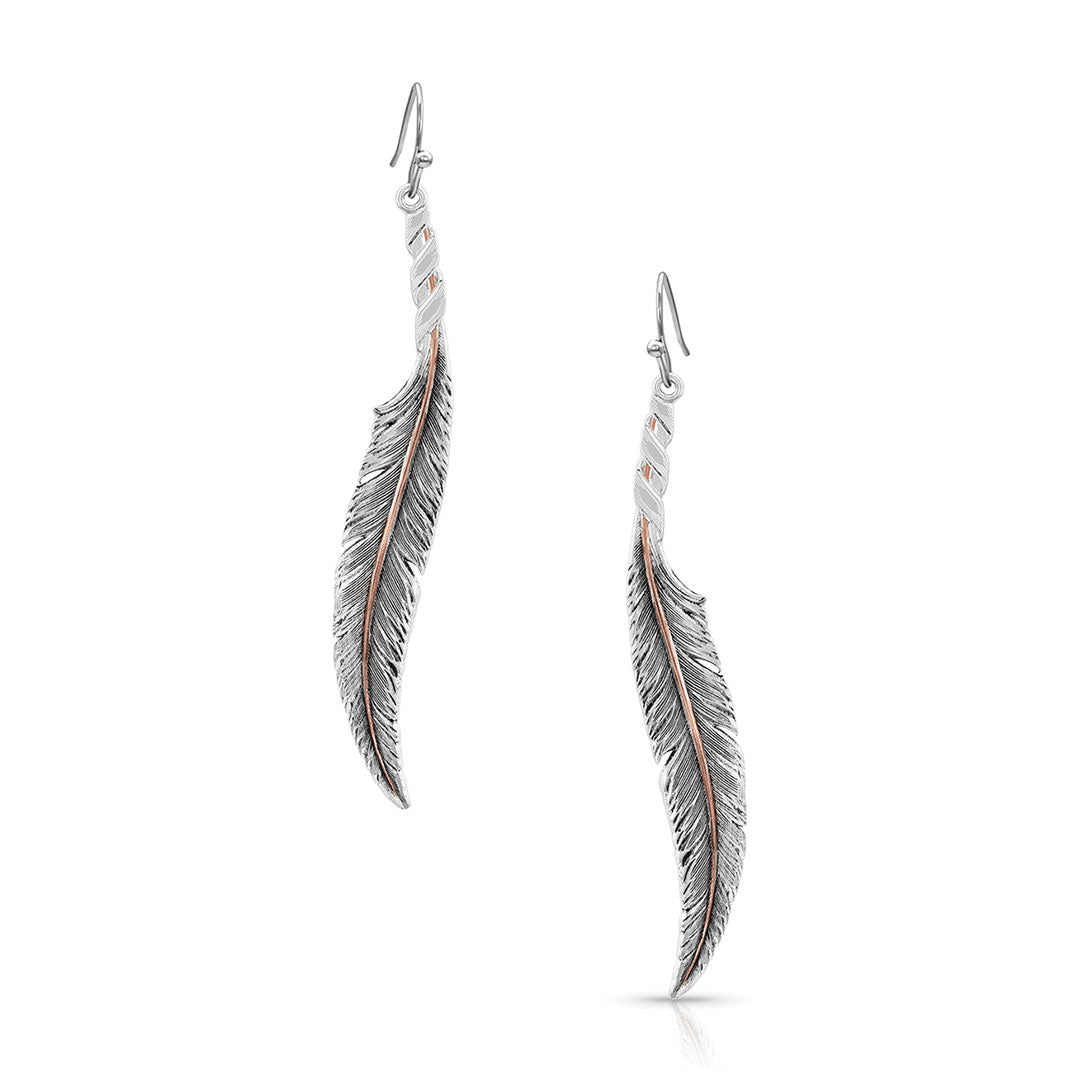 Montana Silversmiths Wind Dancer Wrapped Feather Earrings