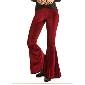 Rock & Roll Cowgirl Velvet Bell Bottom Womens Leggings