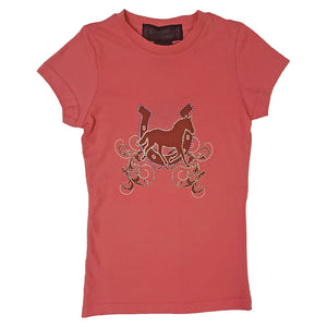 Cowgirl Collection Horse Screenprint Girl's Pink Tee