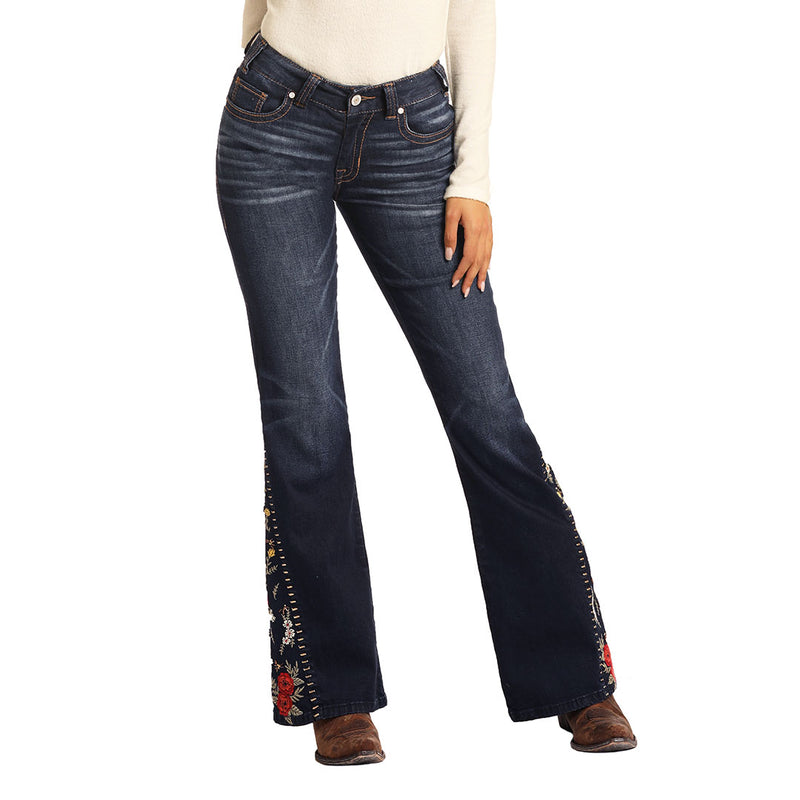 Rock & Roll Denim Women's Mid Rise Flared Jeans