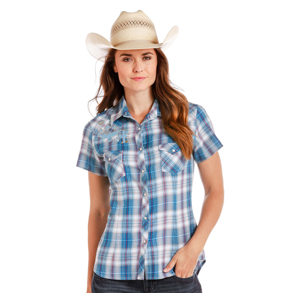 Panhandle Blue Plaid Embroidered Shirt