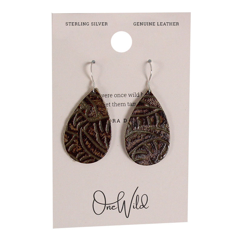 One Wild Small Drop Leather Earrings