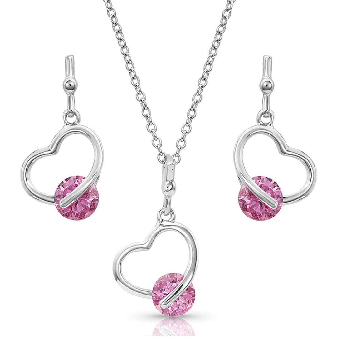 Montana Silversmiths A Drop of Pink Heart Jewelry Set