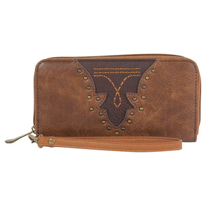 Justin Saddle & Brown Toe Bug Stitch Accordion Womens Wallet