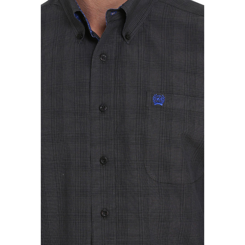 Cinch Plaid Print Black & Grey Mens Shirt