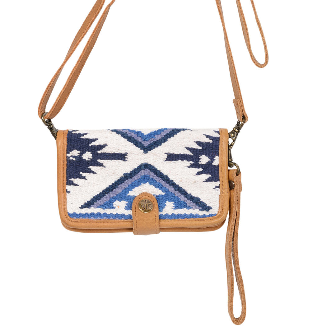 STS Ranchwear Durango Blue & White Serape Crossbody Wallet