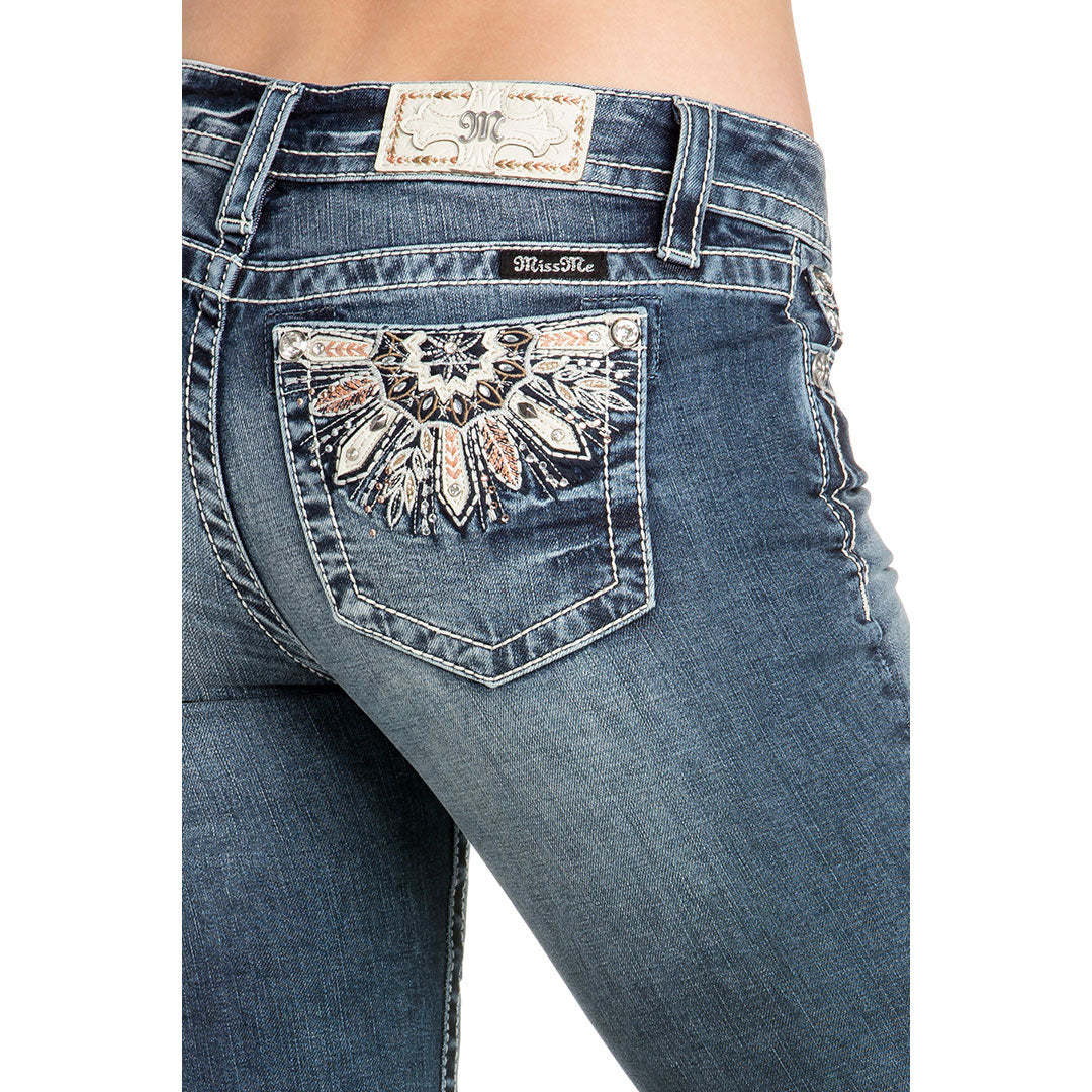 Miss Me Feather Embroidered Boot Cut Jeans
