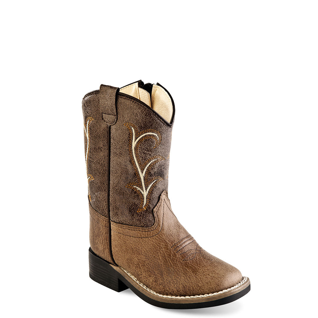 Old West Vintage Tan & Brown Toddler Cowboy Boots