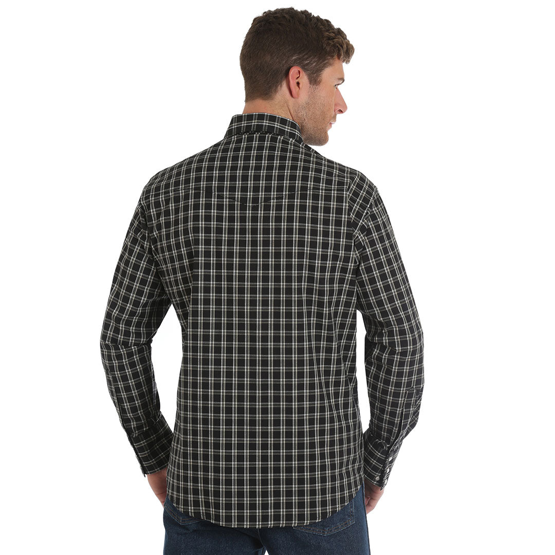 Wrangler® Wrinkle Resist Black Plaid Shirt