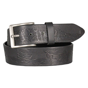 Cowboy Collection Men's Wildlife Tooled Leather Belt