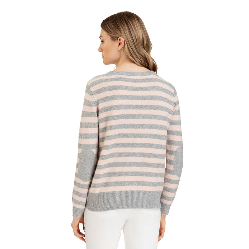 Tribal Elbow Patch Womens Pink & Grey Sweater