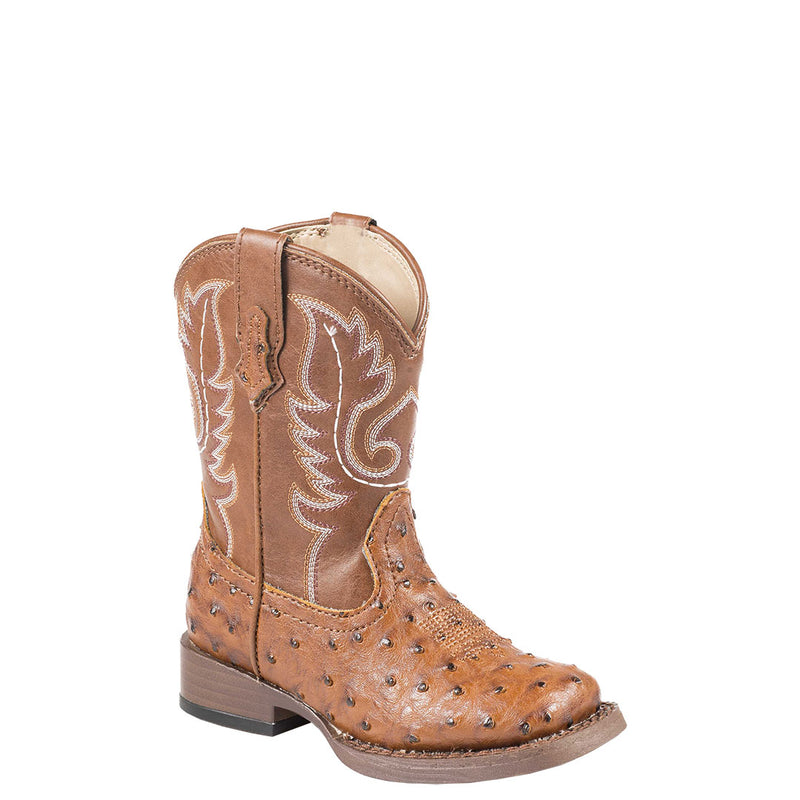 Roper Bumps Ostrich Print Toddler Cowgirl Boots