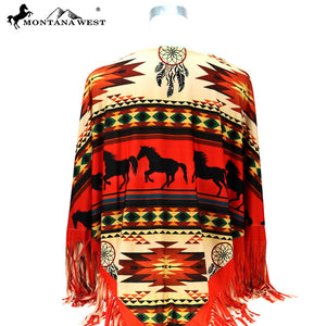 Montana West Aztec Horse Red Womens Fringe Poncho