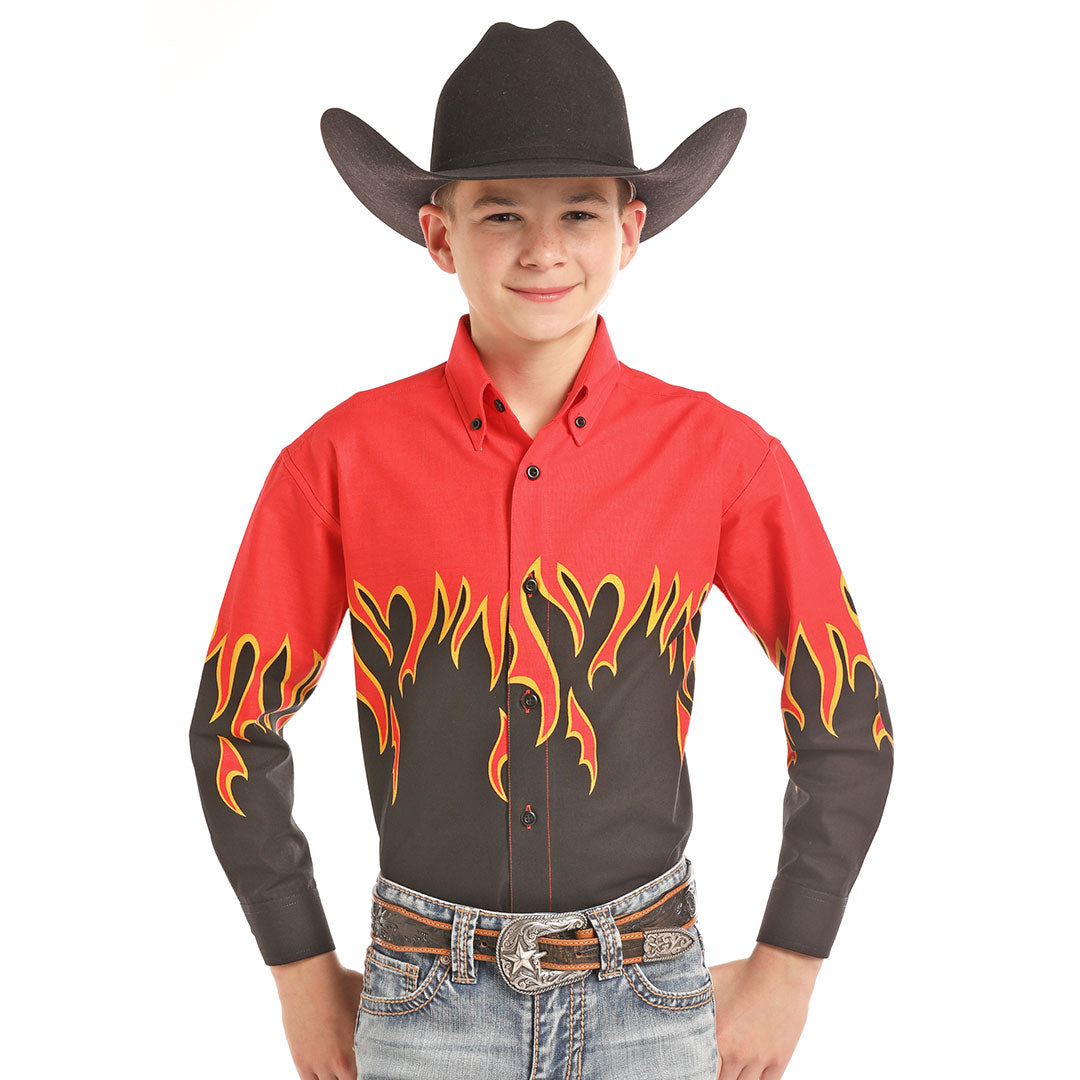 Panhandle Flame Border Print Shirt