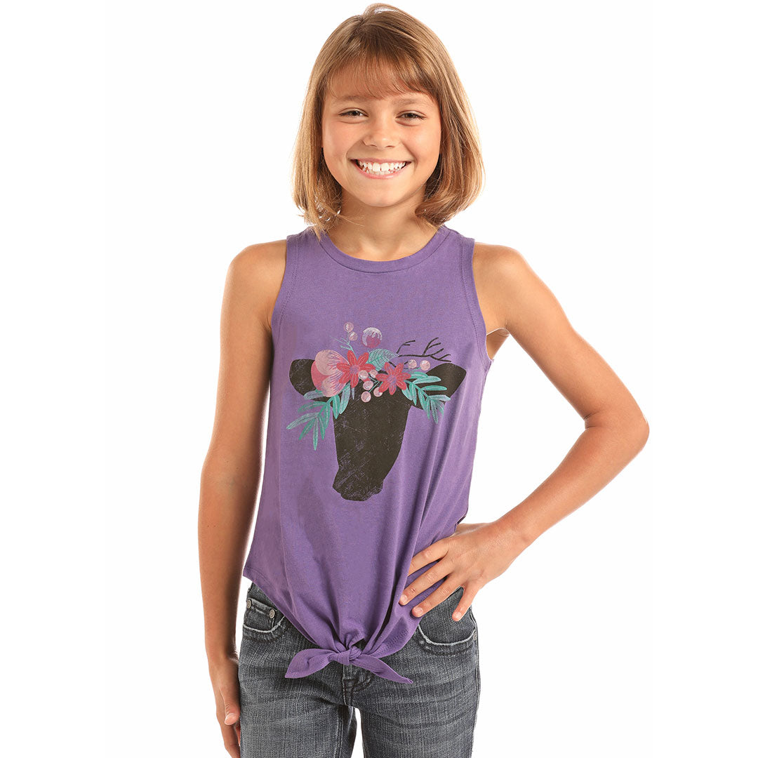 Rock & Roll Cowgirl Purple Cow & Floral Crown Tie Tank
