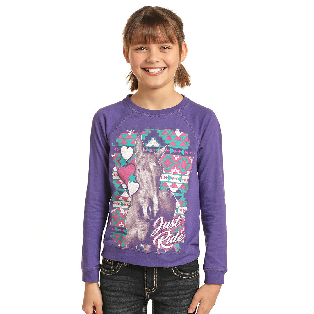 Rock & Roll Cowgirl Just Ride Horse Graphic Purple Girls T-Shirt