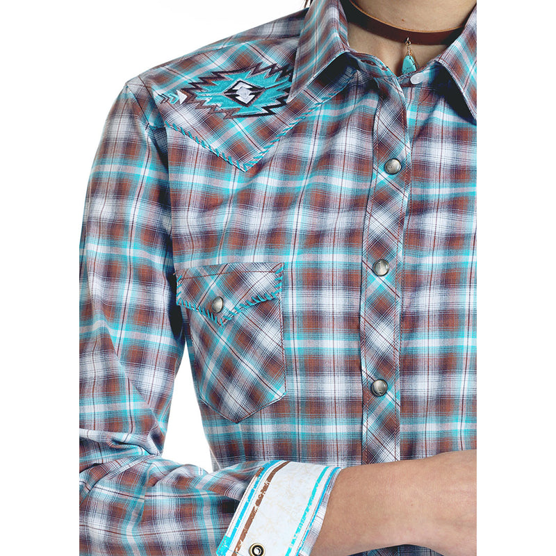Panhandle Turquoise Plaid Aztec Embroidered Shirt
