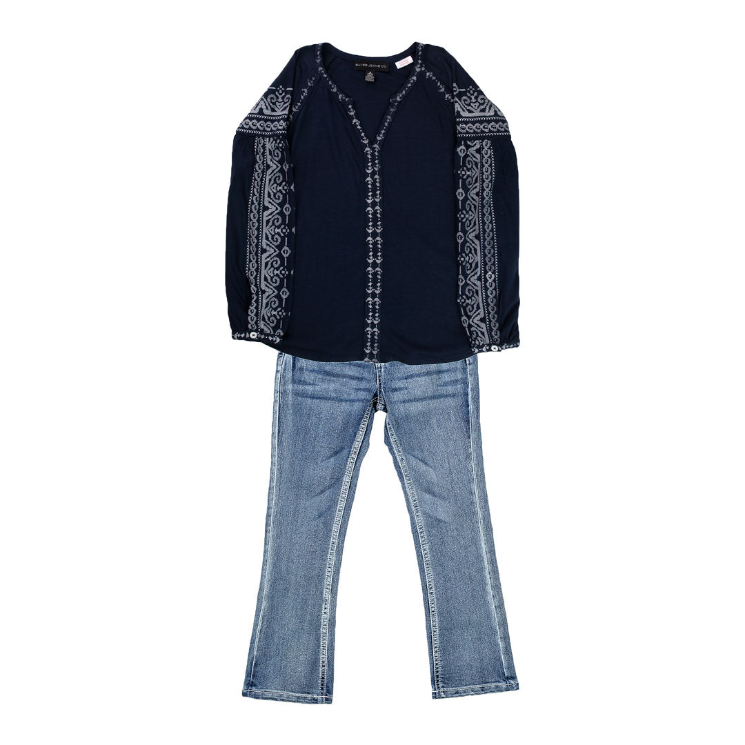 Silver Jeans Kids Toddler Girls Peasant Top & Jean Set
