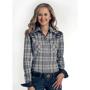 a54732ae2b9a9a Panhandle Grey & Black Plaid Paisley Embroidered Shirt | Women's Long Sleeve  | Lammle's