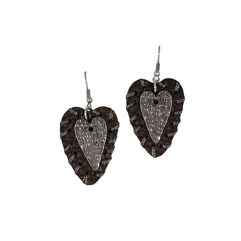 Cindy Smith Leather & Silver Wrapped Heart Earrings