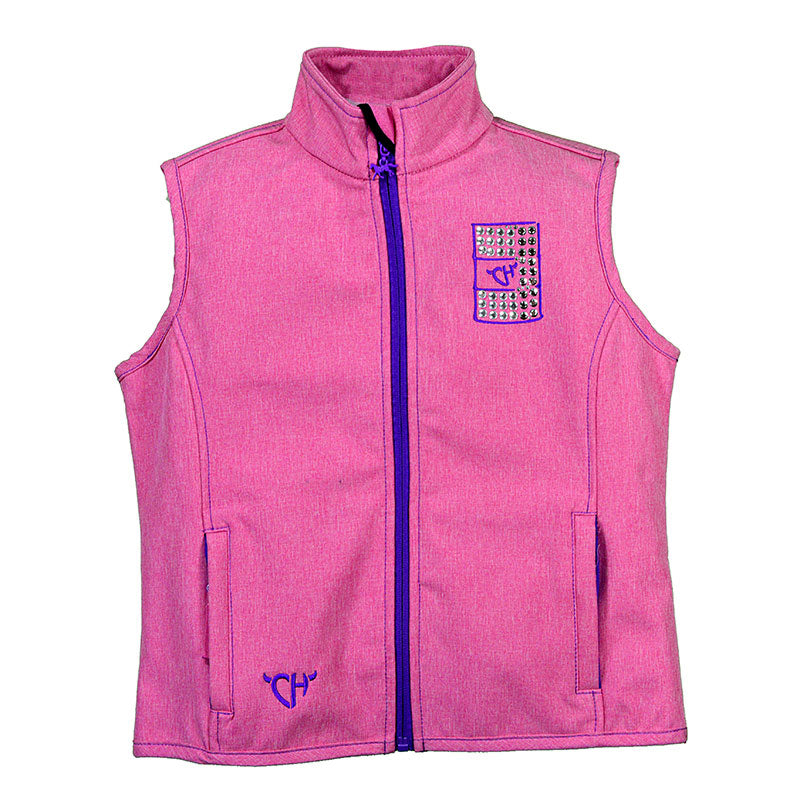 Cowgirl Hardware Barrel Racer Poly Shell Heather Pink Girls Vest