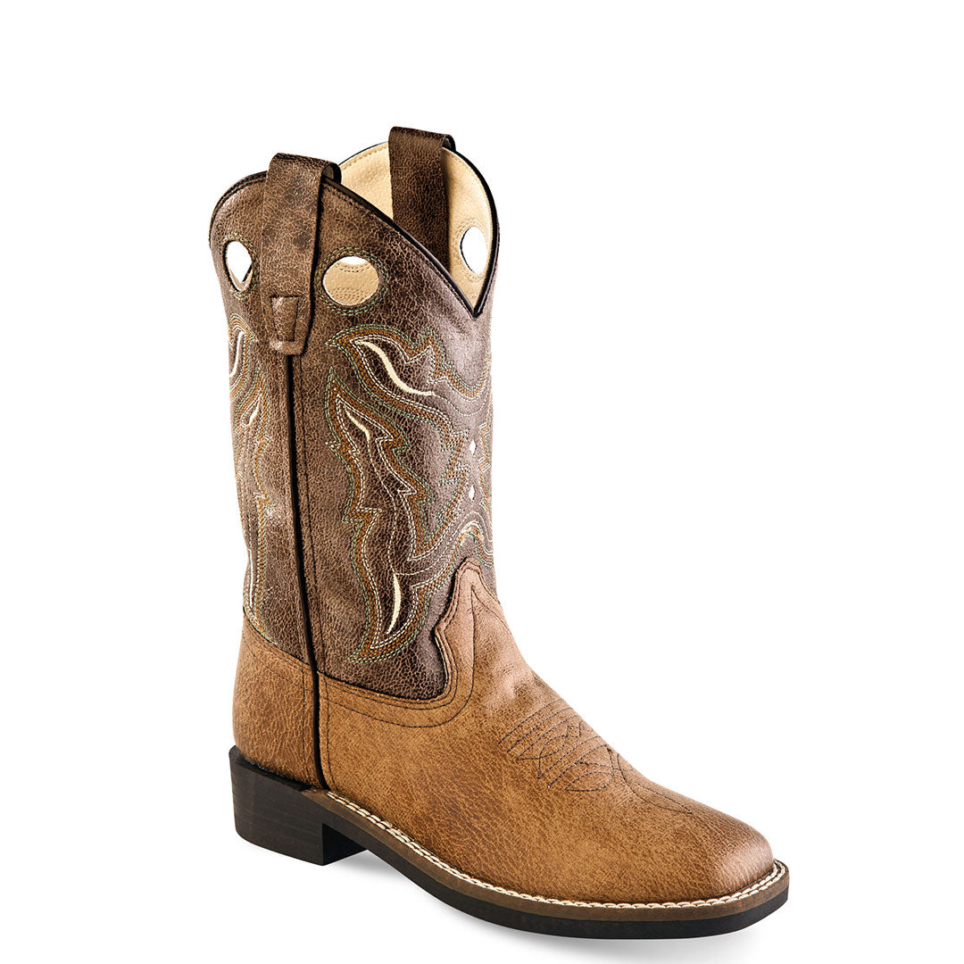 Old West Vintage Tan & Brown Kids Cowboy Boots