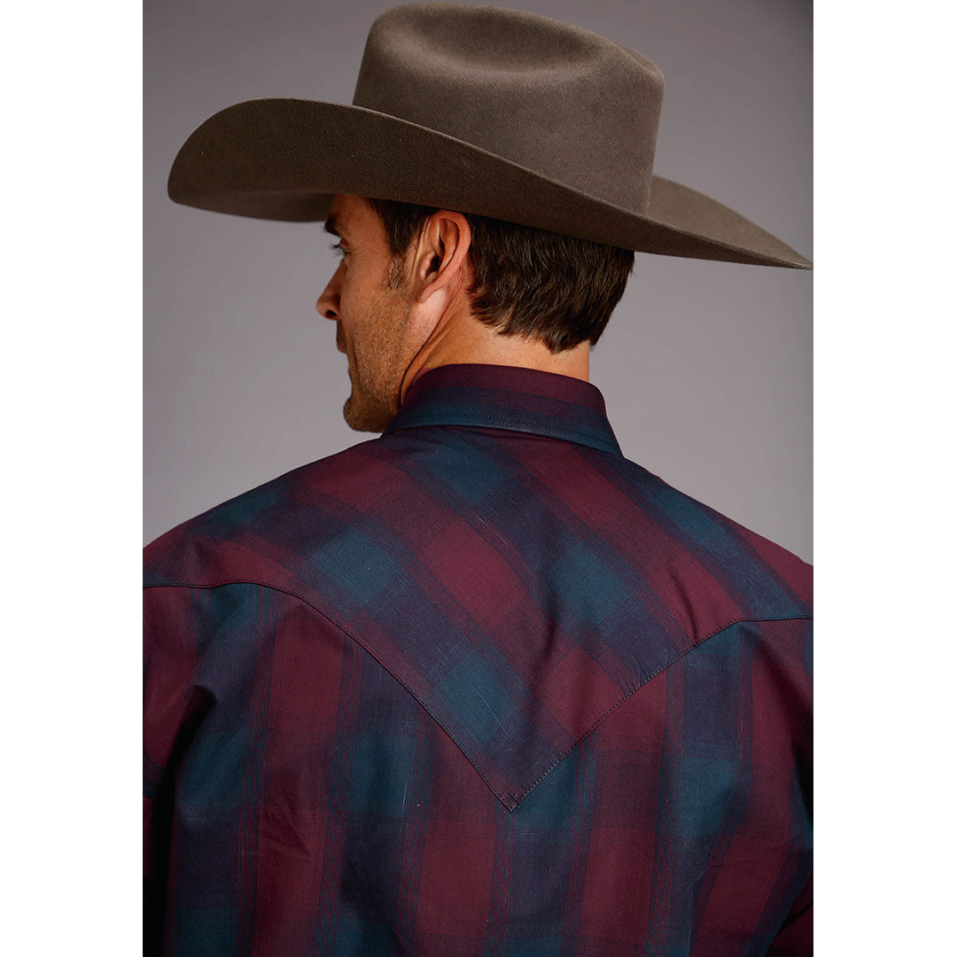 Stetson Ombre Plaid Navy & Wine Mens Shirt