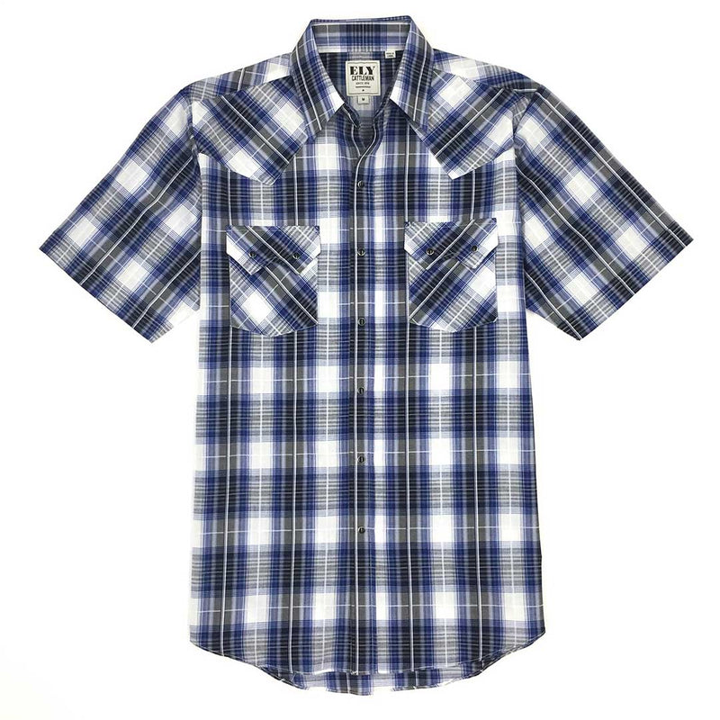 Ely Cattleman Men's Dobby Plaid Short Sleeve Shirt