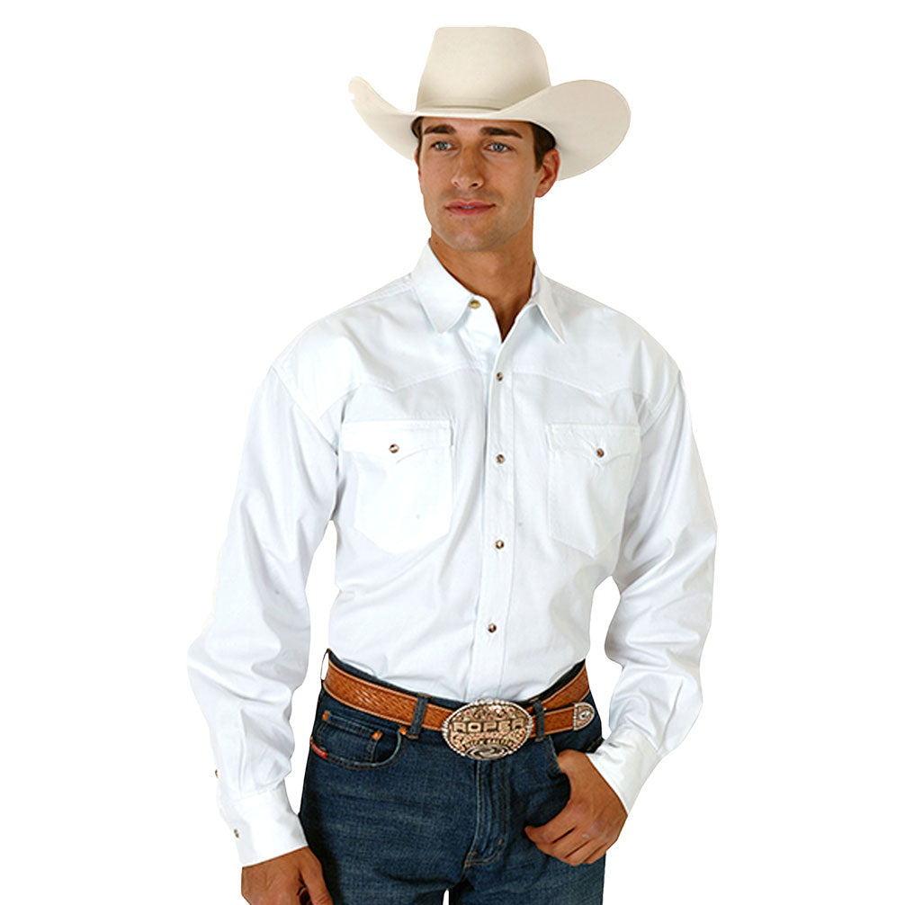 Roper by Karman Solid White Western Shirt