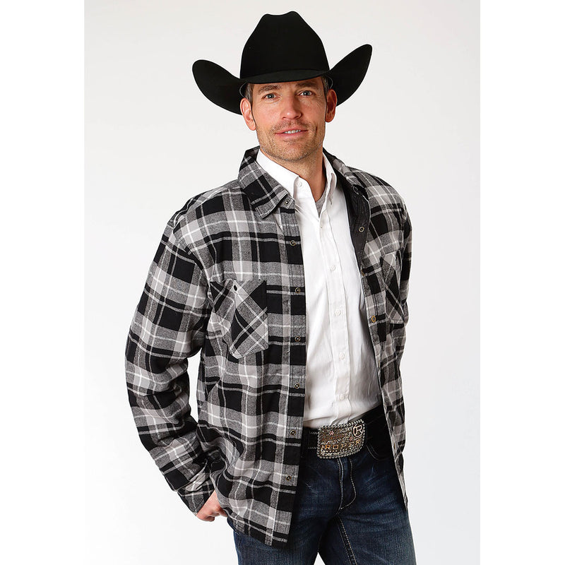 Roper Reversible Poly-Flannel Mens Black Jacket