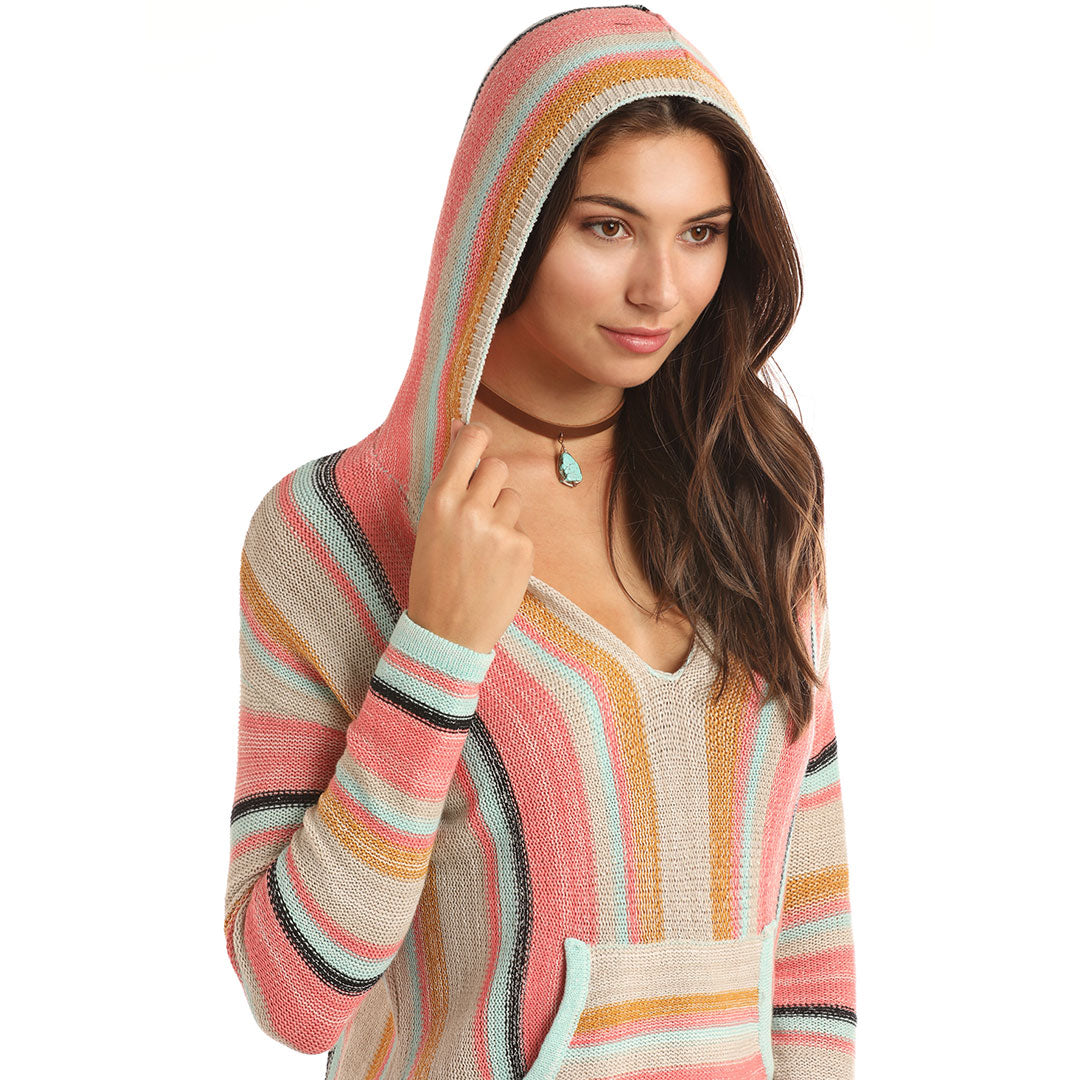 Rock & Roll Cowgirl Serape Knit Pullover Hoodie