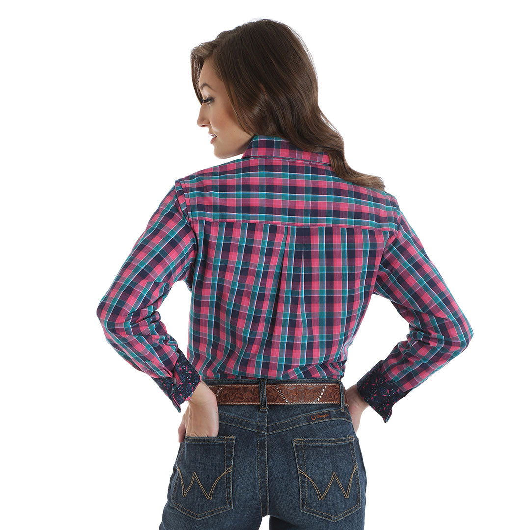 George Strait for Her Pink & Turquoise Plaid Shirt