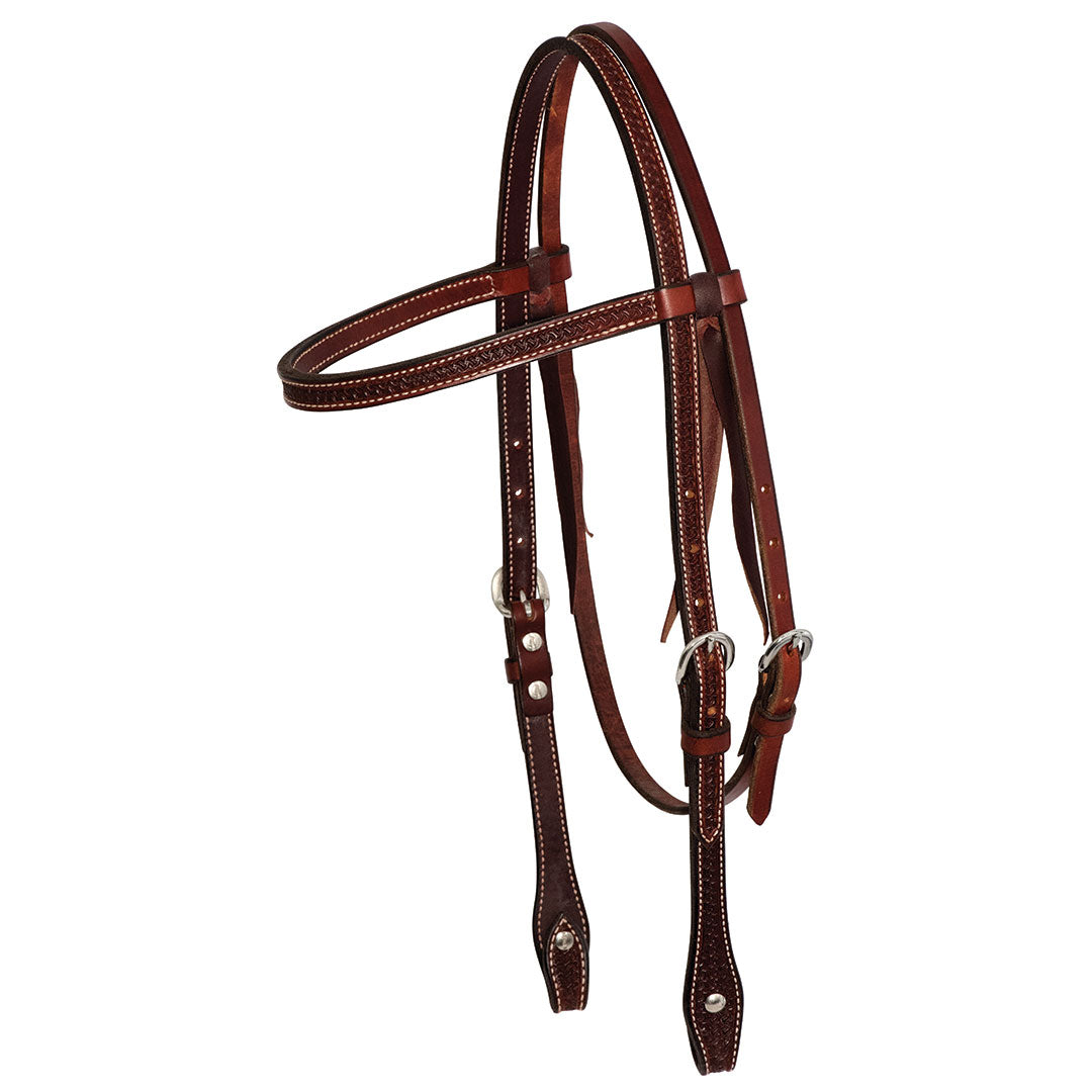 Wildfire Saddlery Rosewood Leather Spider Stamp Browband Headstall