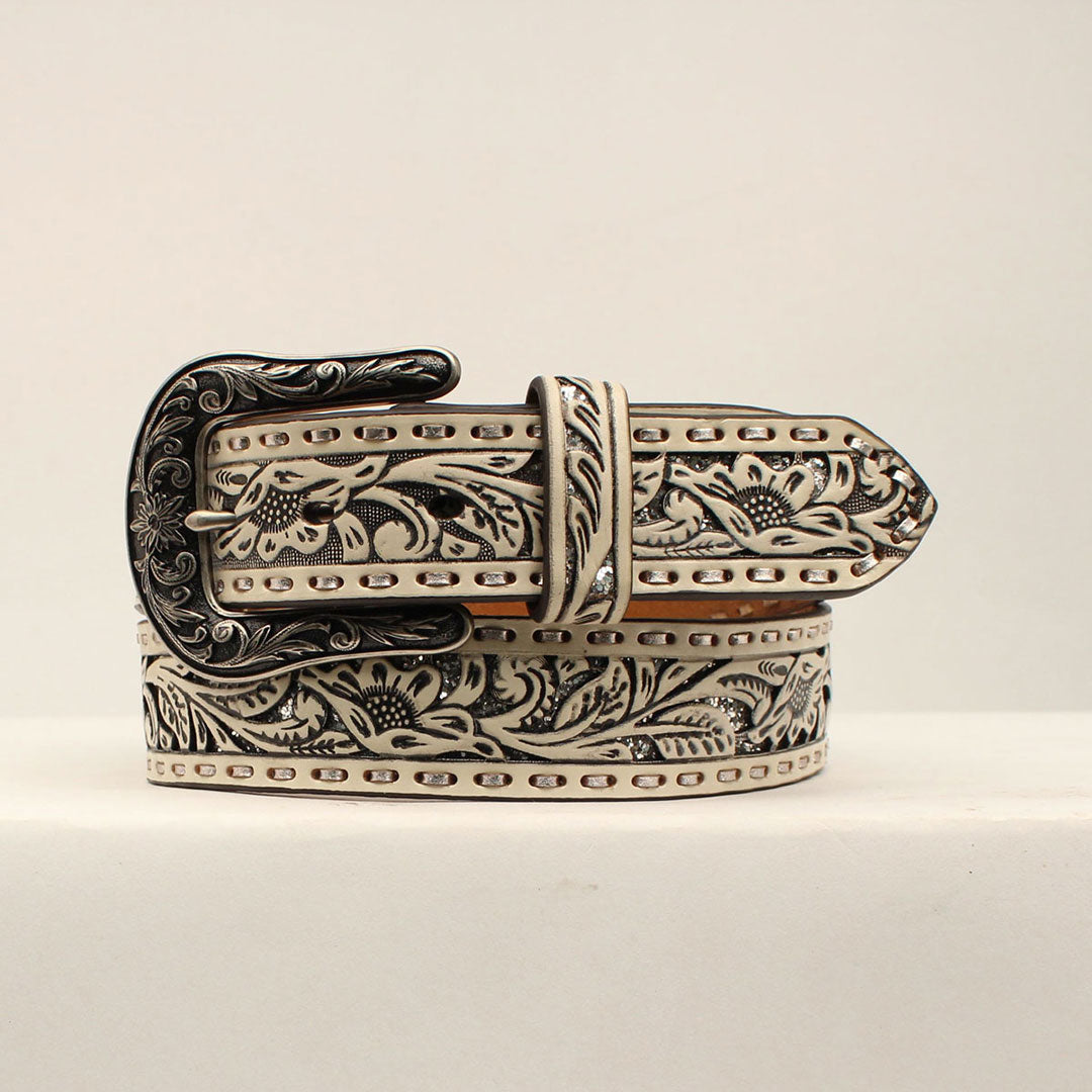 Ariat White Floral Embossed Belt