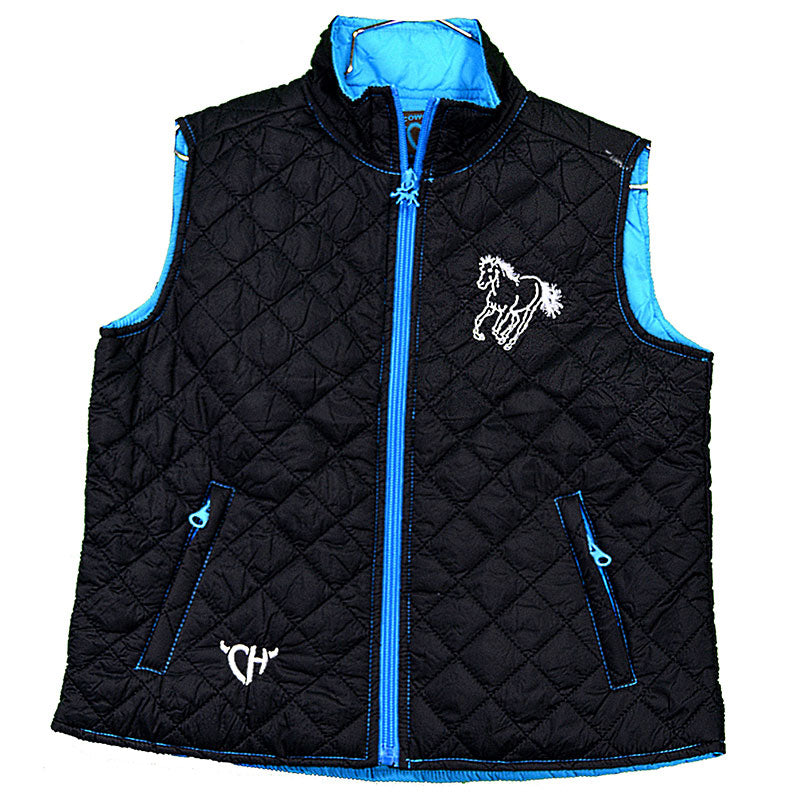 Cowgirl Hardware Cactus Horse Quilted Girls Black Vest