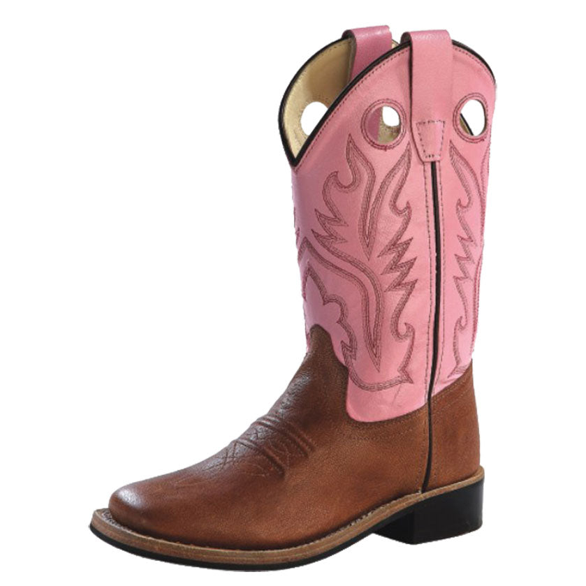 Old West Pink & Brown Kids Western Boots