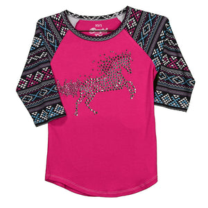 Cowgirl Hardware Crystal Fire Horse Raglan Hot Pink Girls Tee