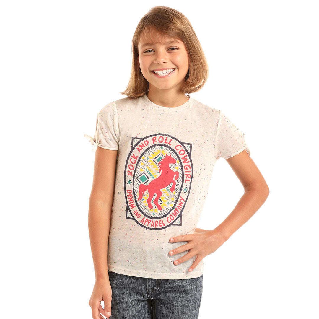 Rock & Roll Cowgirl Girls Confetti Horse Tee