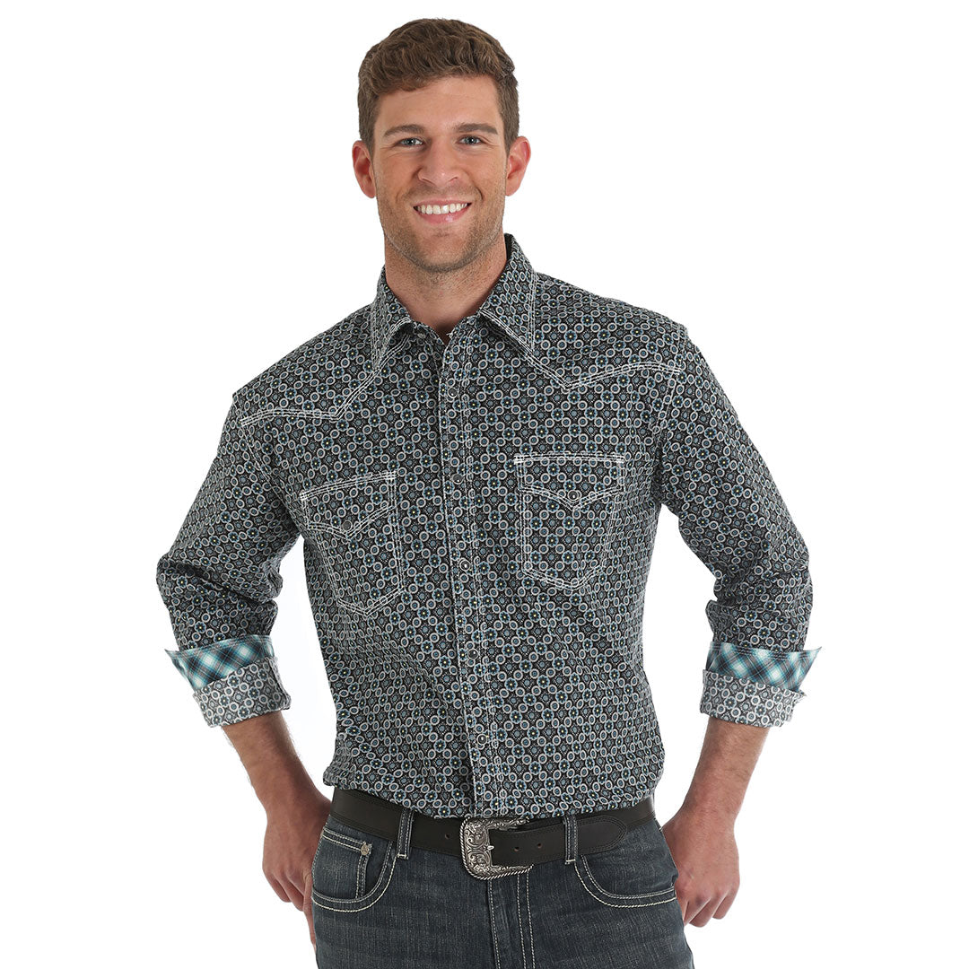 Wrangler® 20X®  Advanced Comfort Turquoise Print Shirt