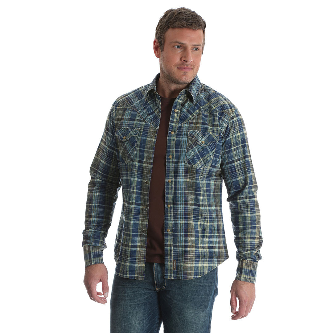 Wrangler Retro® Blue & Green Plaid Shirt