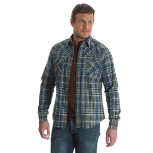 540993fb Wrangler Retro® Blue & Green Plaid Shirt | Men's Long Sleeve Shirts |  Lammle's