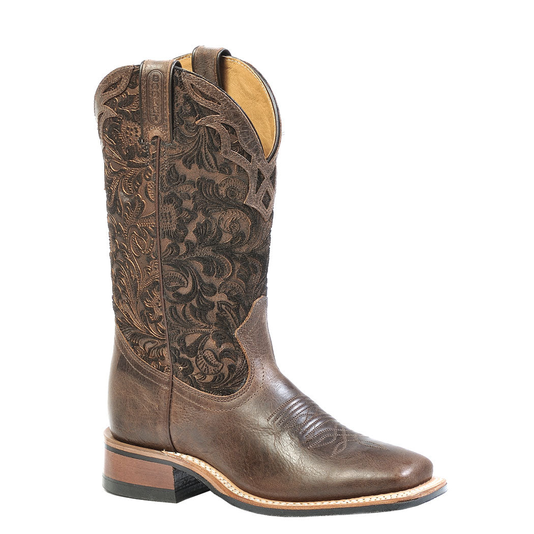 Boulet Tooled Barocco Calf Tobacco Shaft Cowgirl Boot