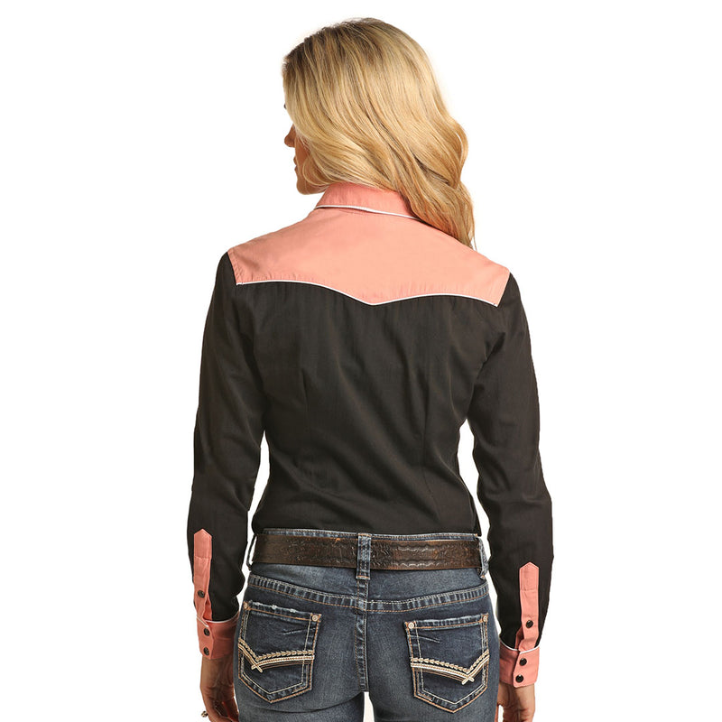 Rock & Roll Cowgirl Retro Black & Dusty Pink Women's Shirt