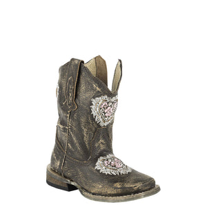 Roper by Karman Destiny Floral Heart Toddler Boots