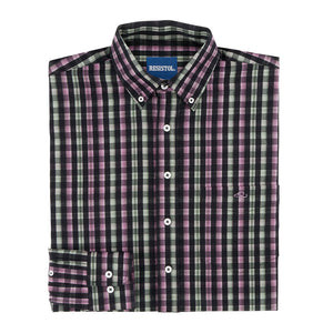 Resistol Ozarks Button  Purple & Green Check Shirt