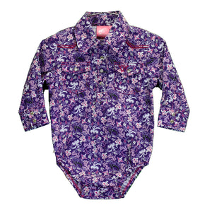 Cowgirl Hardware Purple Floral Romper