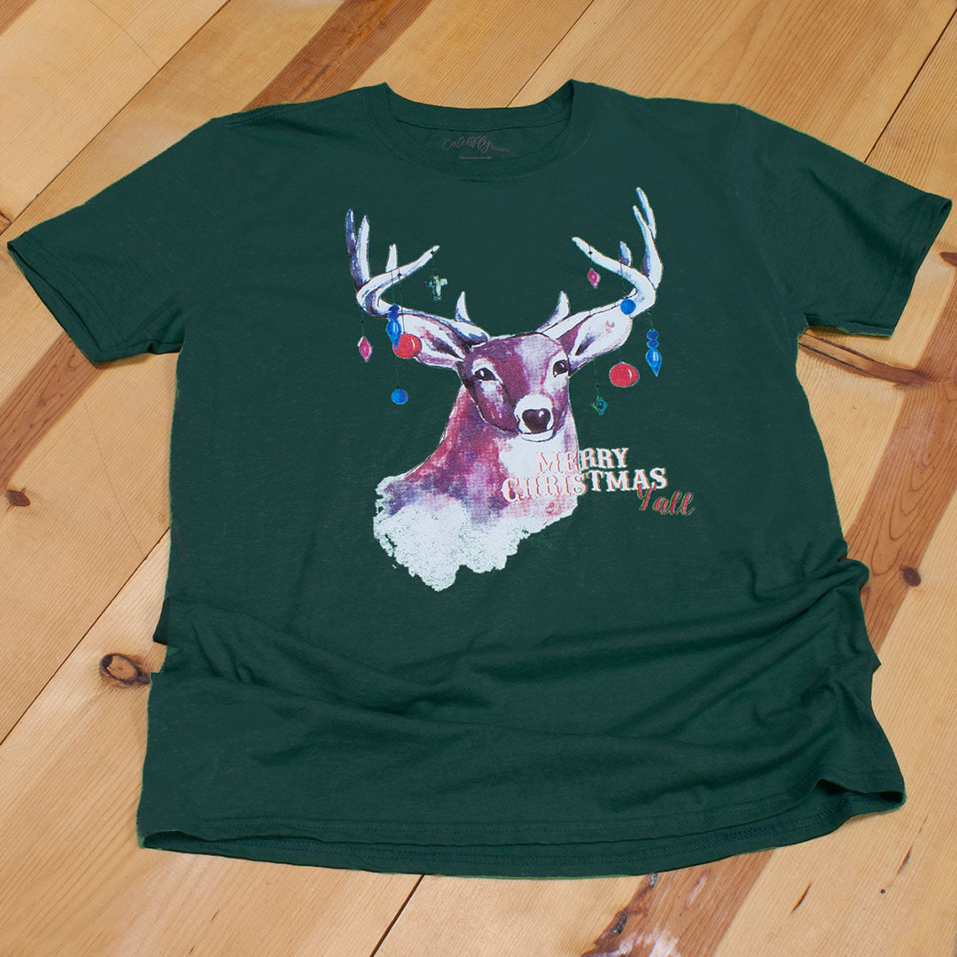 Catchfly Merry Christmas Y'All Green Womens Tee