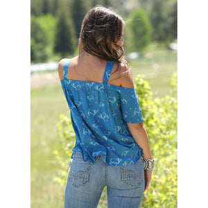 Cruel Denim Brahman Print Womens Blue Blouse