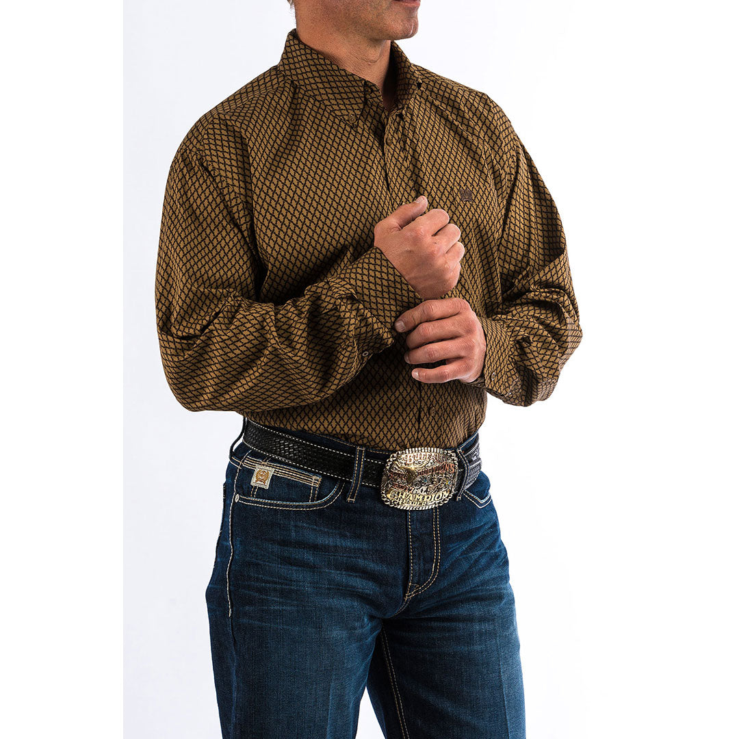 Cinch Tan & Brown Link Print Shirt